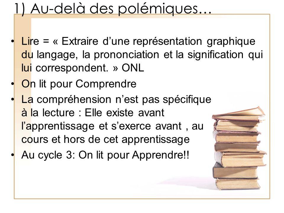 1) Au-delà des polémiques… Lire = « Extraire dune représentation graphique du langage, la prononciation et la signification qui lui correspondent. » O