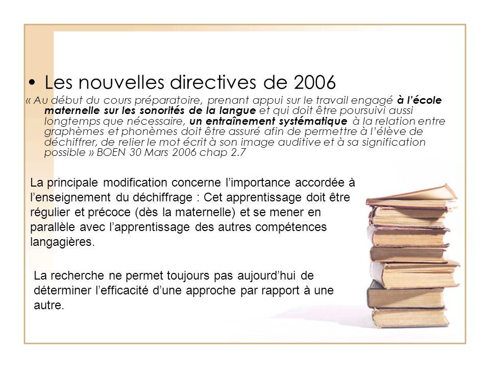 Les nouvelles directives de 2006 « Au début du cours préparatoire, prenant appui sur le travail engagé à lécole maternelle sur les sonorités de la lan