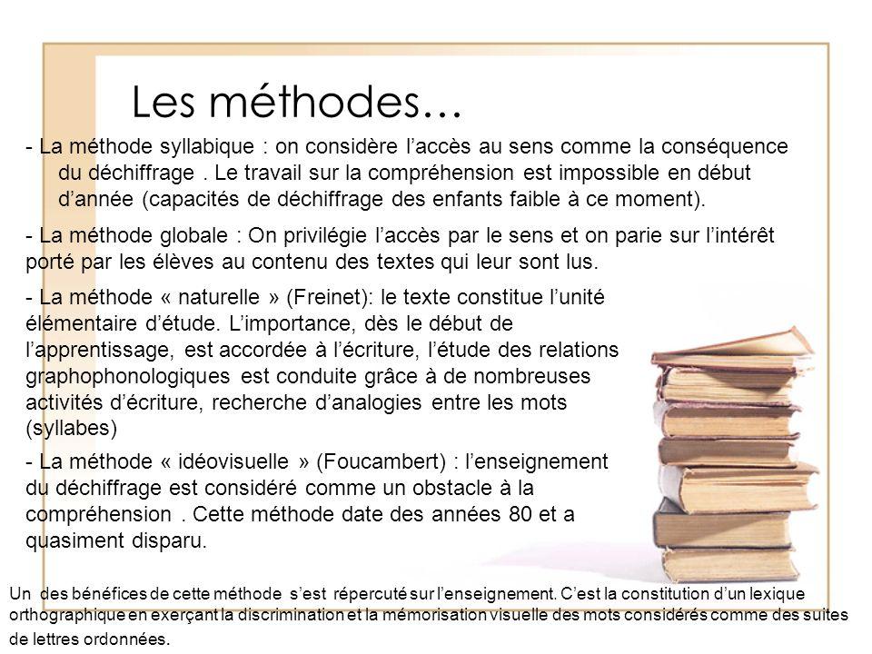 Les méthodes… - La méthode syllabique : on considère laccès au sens comme la conséquence du déchiffrage. Le travail sur la compréhension est impossibl