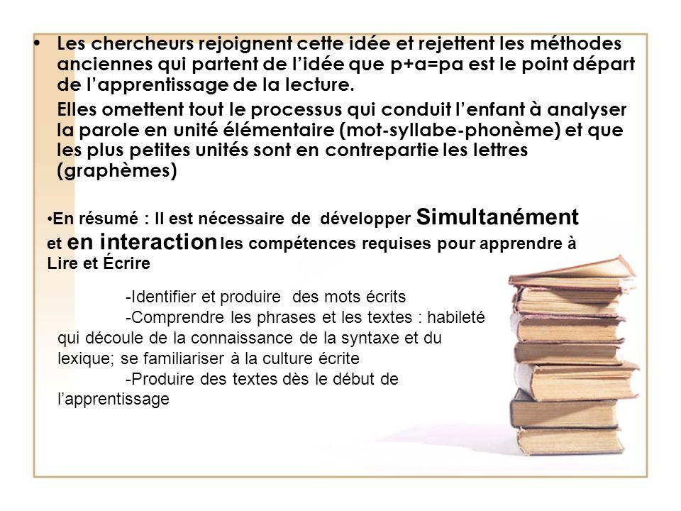 - 4 Lordre détude des phonèmes : Il est encore nécessaire de travailler la syllabe pour les élèves qui entrent au CP.