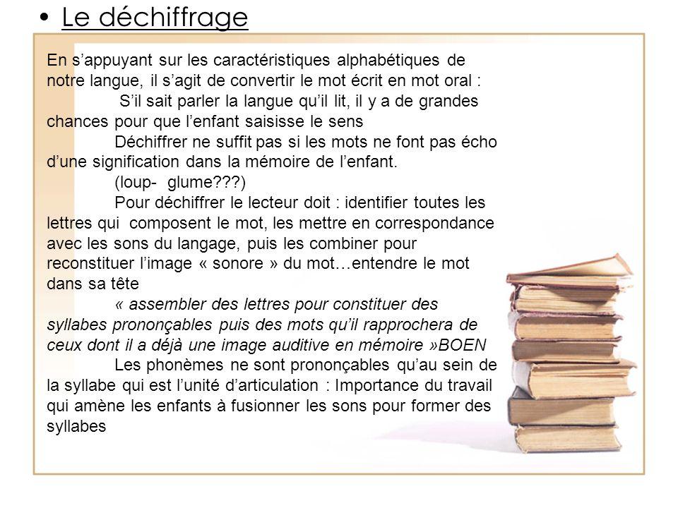 Bibliographie Ce travail est basé sur : «Apprendre à Lire» de Goigoux et Cèbe aux Éditions Retz Le Rapport de lObservatoire National sur la Lecture (O.N.L.) «Les Maclé» dOuzoulias «Apprendre à Lire : lessentiel en 7pages et 40 notions» de Bentolila