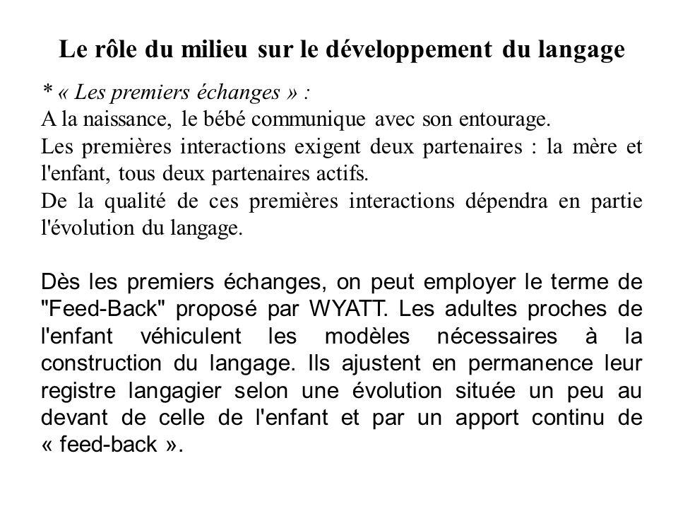 Le rôle du milieu sur le développement du langage * « Les premiers échanges » : A la naissance, le bébé communique avec son entourage. Les premières i
