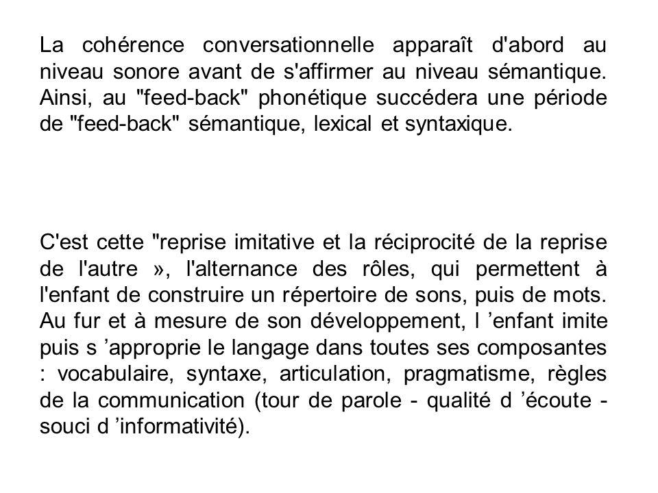 La cohérence conversationnelle apparaît d'abord au niveau sonore avant de s'affirmer au niveau sémantique. Ainsi, au
