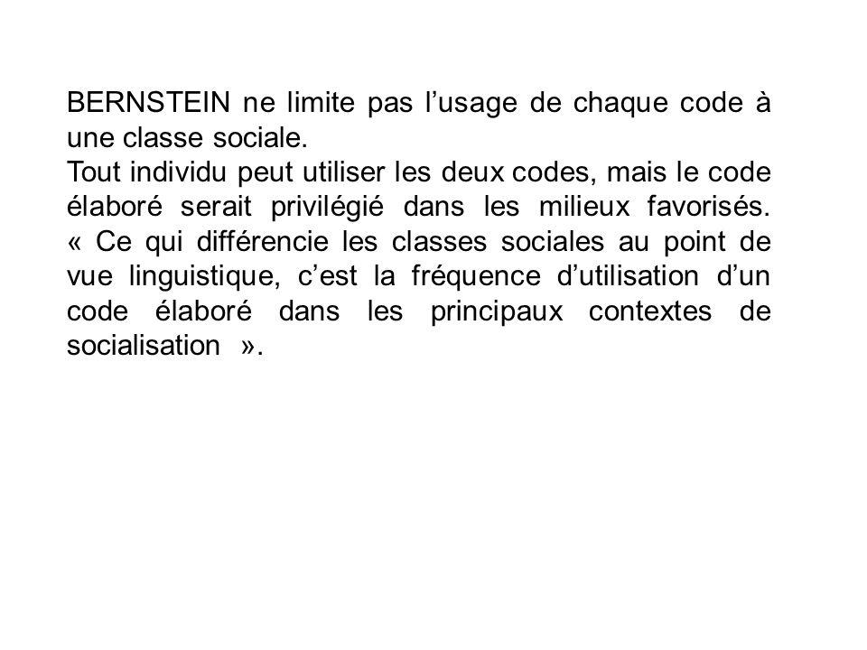 BERNSTEIN ne limite pas lusage de chaque code à une classe sociale. Tout individu peut utiliser les deux codes, mais le code élaboré serait privilégié