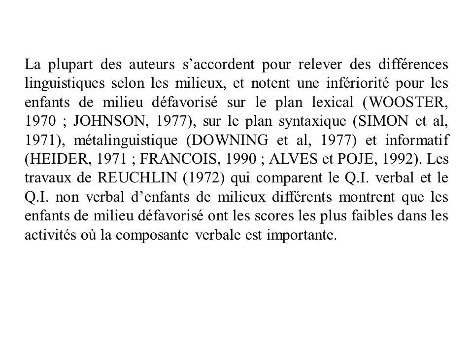 La plupart des auteurs saccordent pour relever des différences linguistiques selon les milieux, et notent une infériorité pour les enfants de milieu défavorisé sur le plan lexical (WOOSTER, 1970 ; JOHNSON, 1977), sur le plan syntaxique (SIMON et al, 1971), métalinguistique (DOWNING et al, 1977) et informatif (HEIDER, 1971 ; FRANCOIS, 1990 ; ALVES et POJE, 1992).