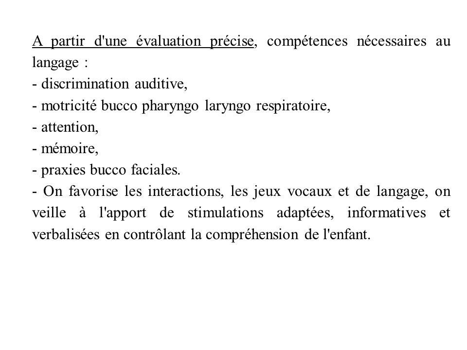 A partir d une évaluation précise, compétences nécessaires au langage : - discrimination auditive, - motricité bucco pharyngo laryngo respiratoire, - attention, - mémoire, - praxies bucco faciales.