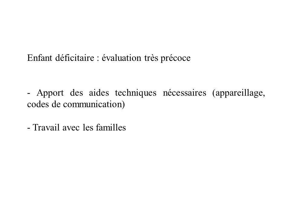 Enfant déficitaire : évaluation très précoce - Apport des aides techniques nécessaires (appareillage, codes de communication) - Travail avec les famil
