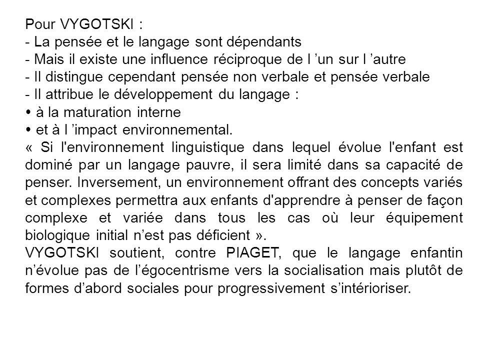 Pour VYGOTSKI : - La pensée et le langage sont dépendants - Mais il existe une influence réciproque de l un sur l autre - Il distingue cependant pensé