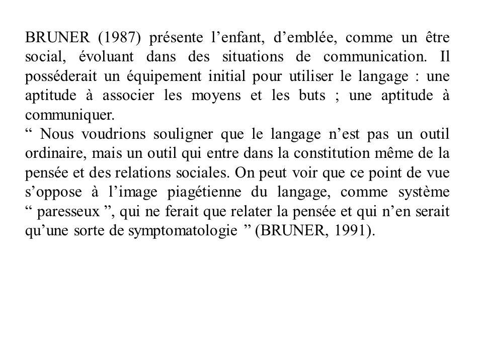 BRUNER (1987) présente lenfant, demblée, comme un être social, évoluant dans des situations de communication. Il posséderait un équipement initial pou