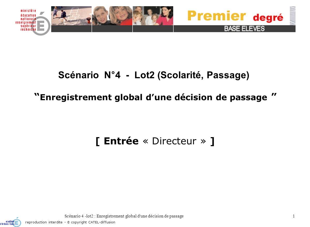 Scénario 4 -lot2 : Enregistrement global d une décision de passage2 Écran daccueil reproduction interdite - © copyright CATEL-diffusion