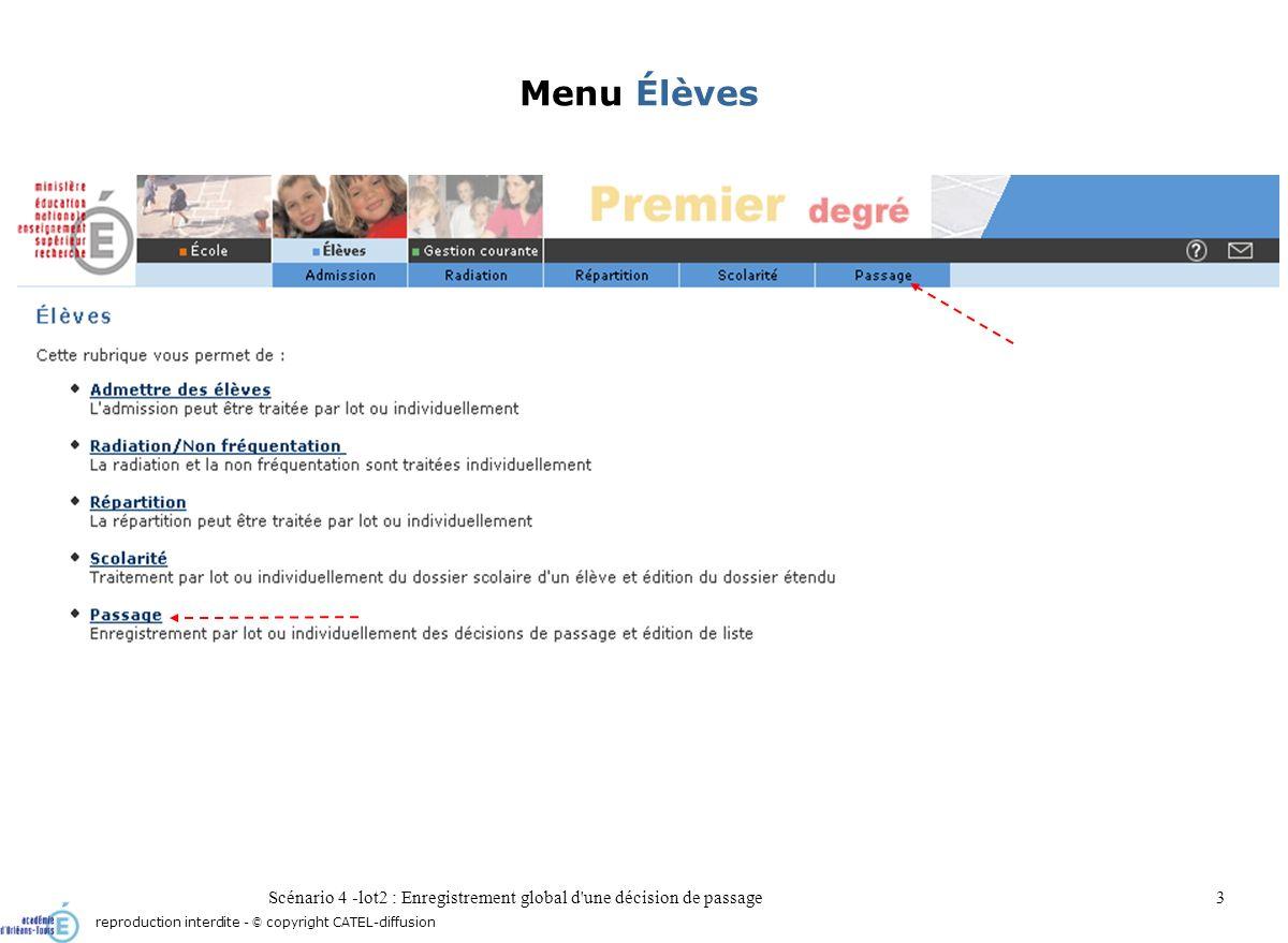 Scénario 4 -lot2 : Enregistrement global d une décision de passage4 Sous-menu Passage reproduction interdite - © copyright CATEL-diffusion
