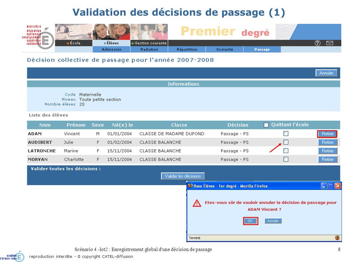 Scénario 4 -lot2 : Enregistrement global d une décision de passage9 Validation des décisions de passage (2) reproduction interdite - © copyright CATEL-diffusion