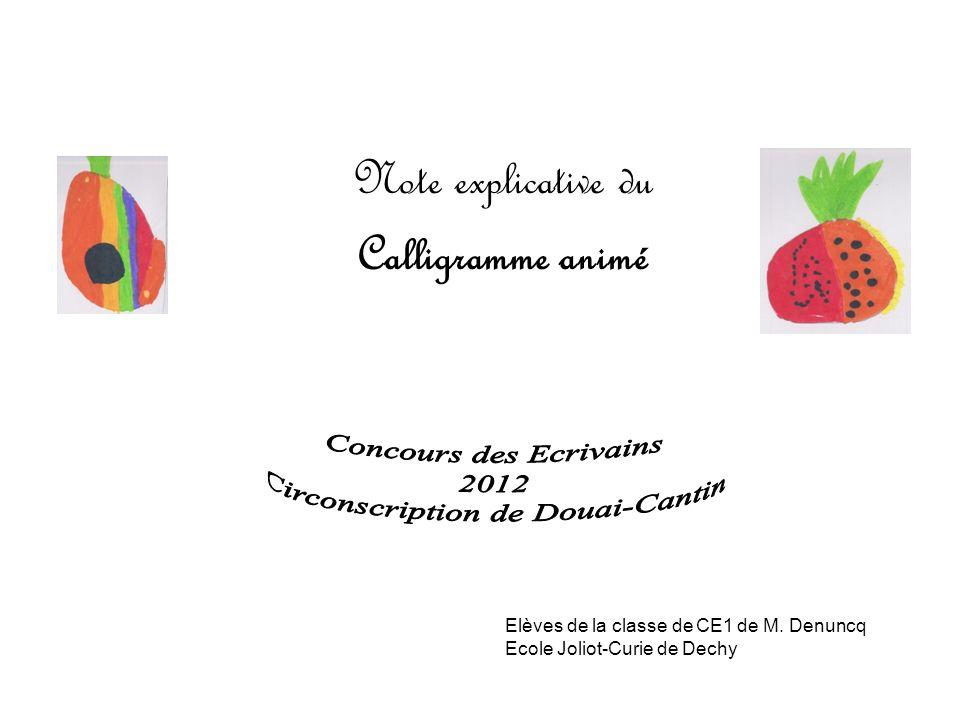Le calligramme présenté, qui a été élaboré dans le cadre des MACLE par 13 élèves de la classe de CE1 de lécole Joliot-Curie à Dechy, est la finalisation dun projet articulé autour des apprentissages suivants :
