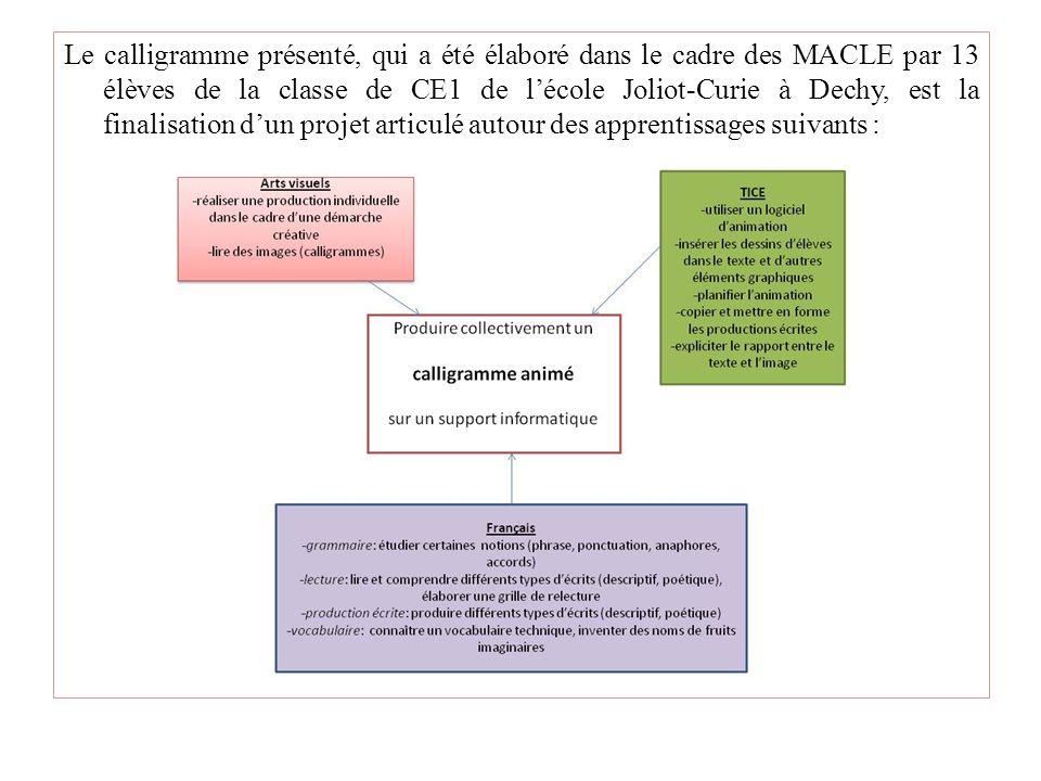 Le calligramme présenté, qui a été élaboré dans le cadre des MACLE par 13 élèves de la classe de CE1 de lécole Joliot-Curie à Dechy, est la finalisati