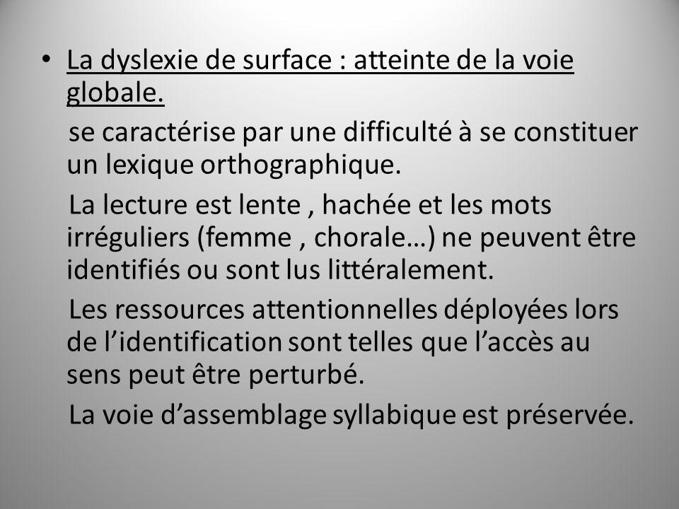La dyslexie de surface : atteinte de la voie globale. se caractérise par une difficulté à se constituer un lexique orthographique. La lecture est lent
