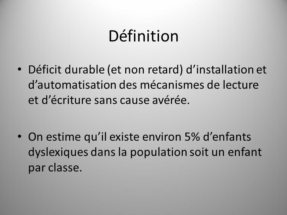 Définition Déficit durable (et non retard) dinstallation et dautomatisation des mécanismes de lecture et décriture sans cause avérée. On estime quil e