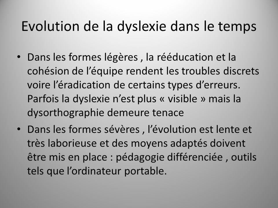 Evolution de la dyslexie dans le temps Dans les formes légères, la rééducation et la cohésion de léquipe rendent les troubles discrets voire léradicat