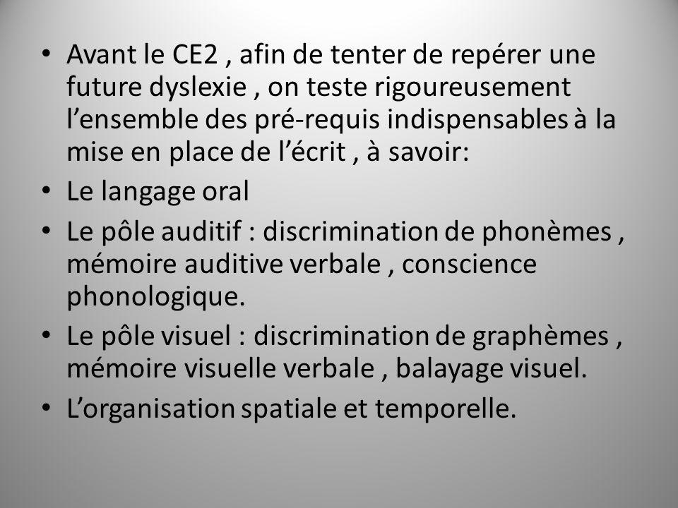 Avant le CE2, afin de tenter de repérer une future dyslexie, on teste rigoureusement lensemble des pré-requis indispensables à la mise en place de léc