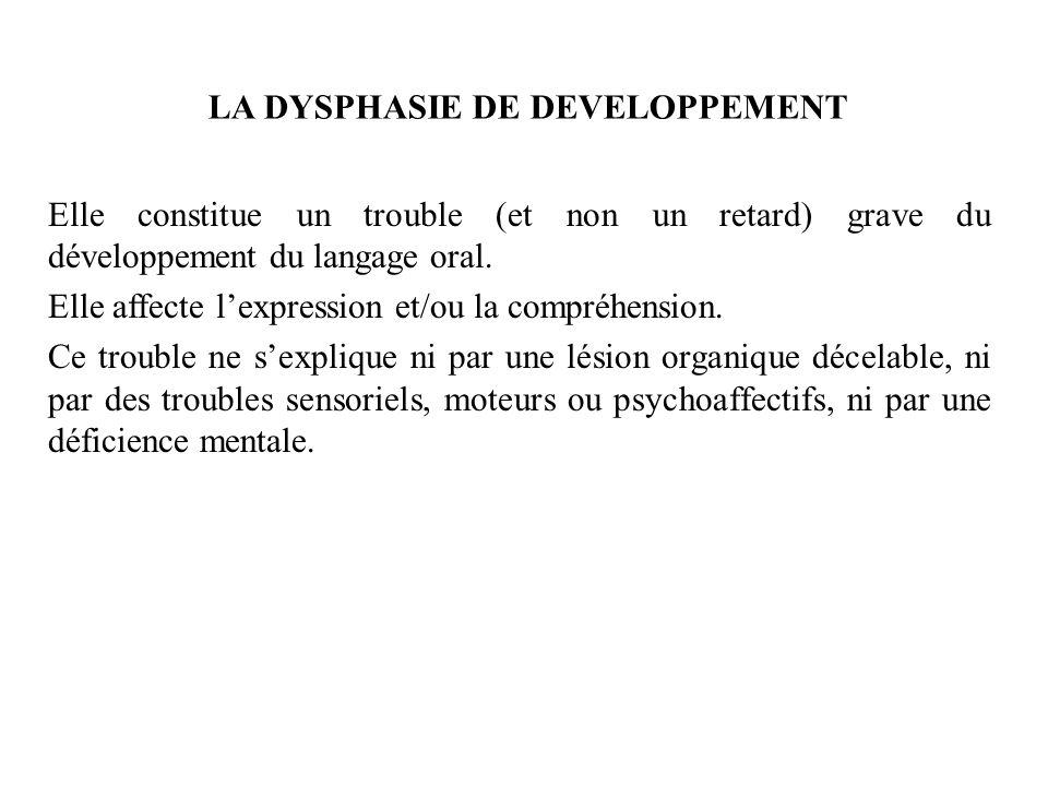 LA DYSPHASIE DE DEVELOPPEMENT Elle constitue un trouble (et non un retard) grave du développement du langage oral. Elle affecte lexpression et/ou la c