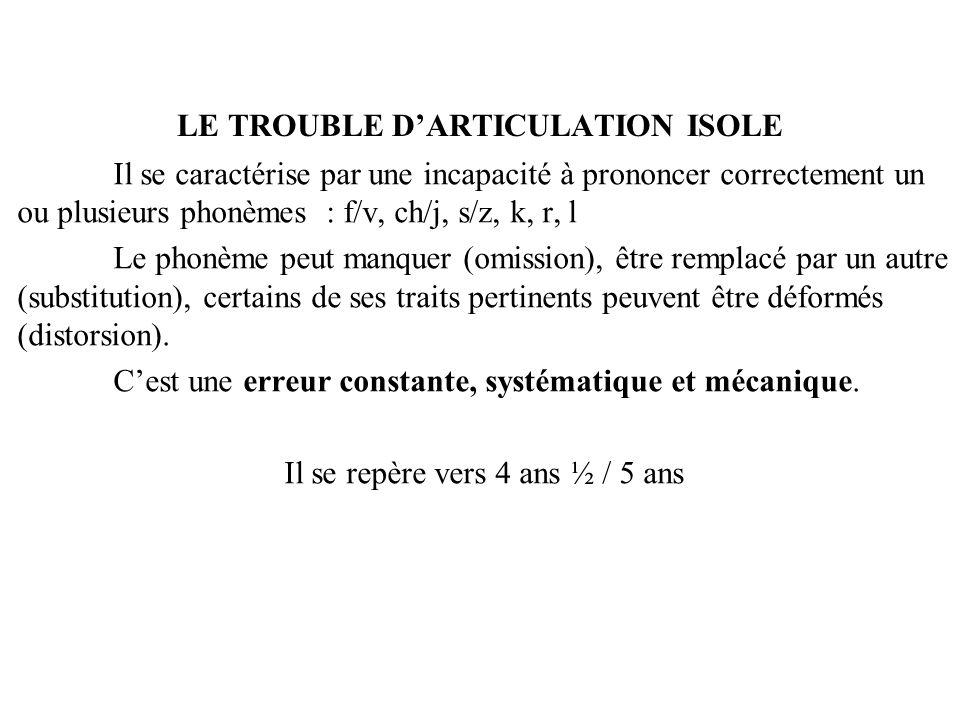 LE TROUBLE DARTICULATION ISOLE Il se caractérise par une incapacité à prononcer correctement un ou plusieurs phonèmes : f/v, ch/j, s/z, k, r, l Le pho