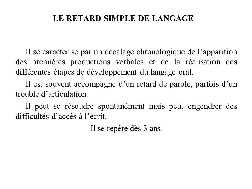 LE RETARD SIMPLE DE LANGAGE Il se caractérise par un décalage chronologique de lapparition des premières productions verbales et de la réalisation des