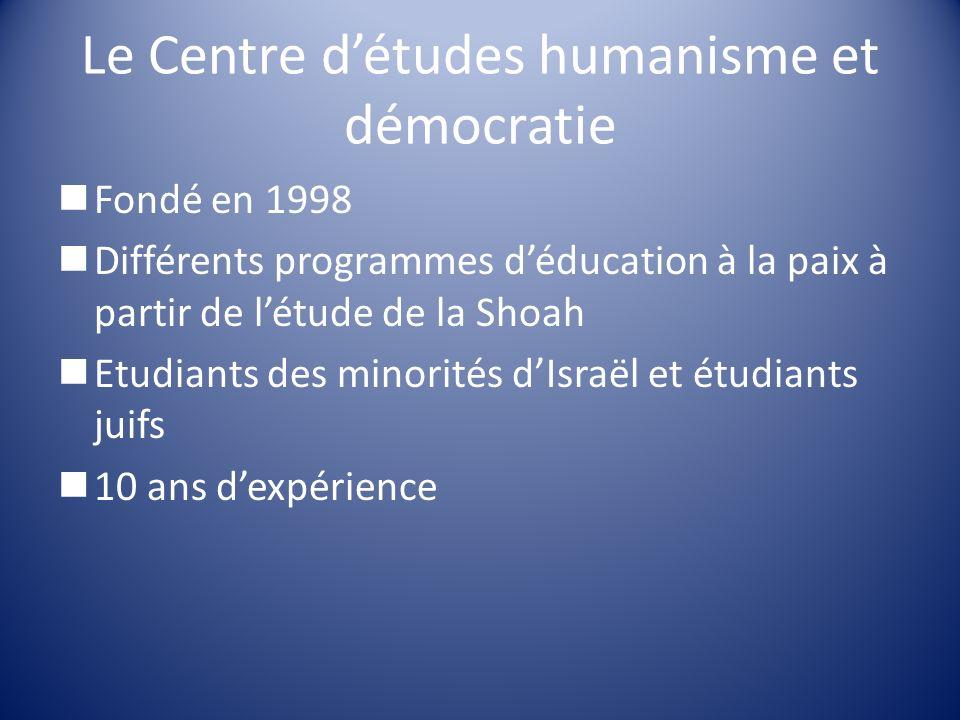 Le Centre détudes humanisme et démocratie Fondé en 1998 Différents programmes déducation à la paix à partir de létude de la Shoah Etudiants des minori