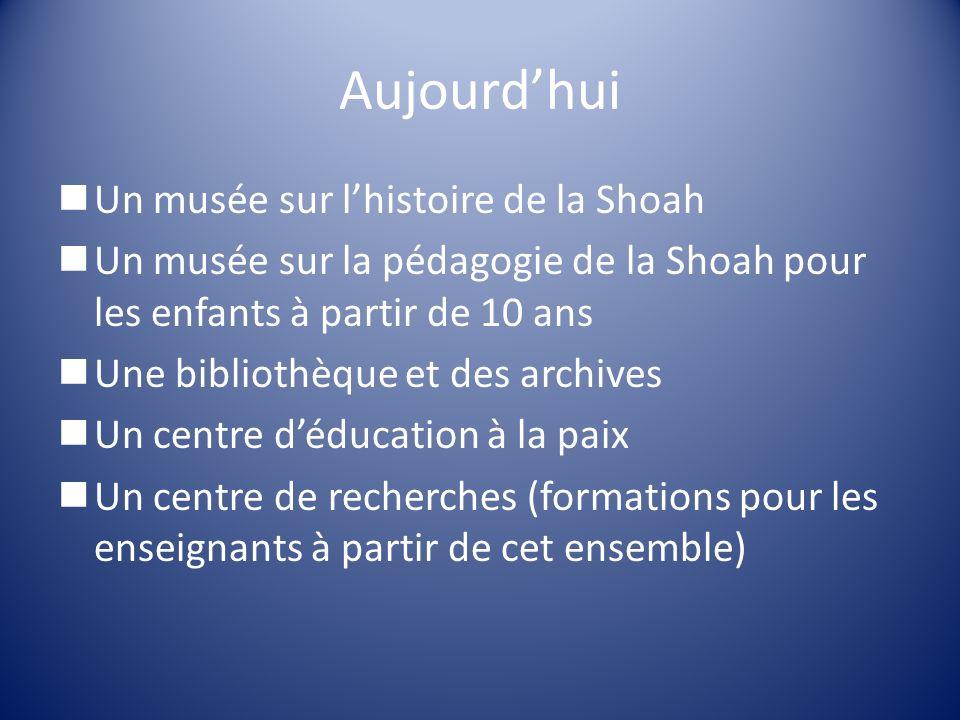 Aujourdhui Un musée sur lhistoire de la Shoah Un musée sur la pédagogie de la Shoah pour les enfants à partir de 10 ans Une bibliothèque et des archiv