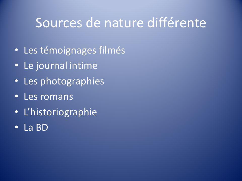 Sources de nature différente Les témoignages filmés Le journal intime Les photographies Les romans Lhistoriographie La BD