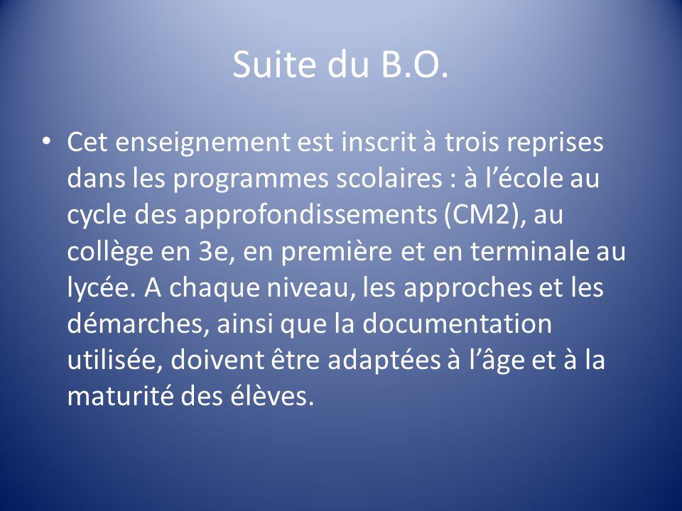 Suite du B.O. Cet enseignement est inscrit à trois reprises dans les programmes scolaires : à lécole au cycle des approfondissements (CM2), au collège