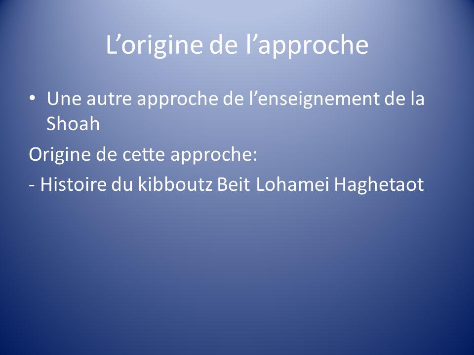 Lorigine de lapproche Une autre approche de lenseignement de la Shoah Origine de cette approche: - Histoire du kibboutz Beit Lohamei Haghetaot