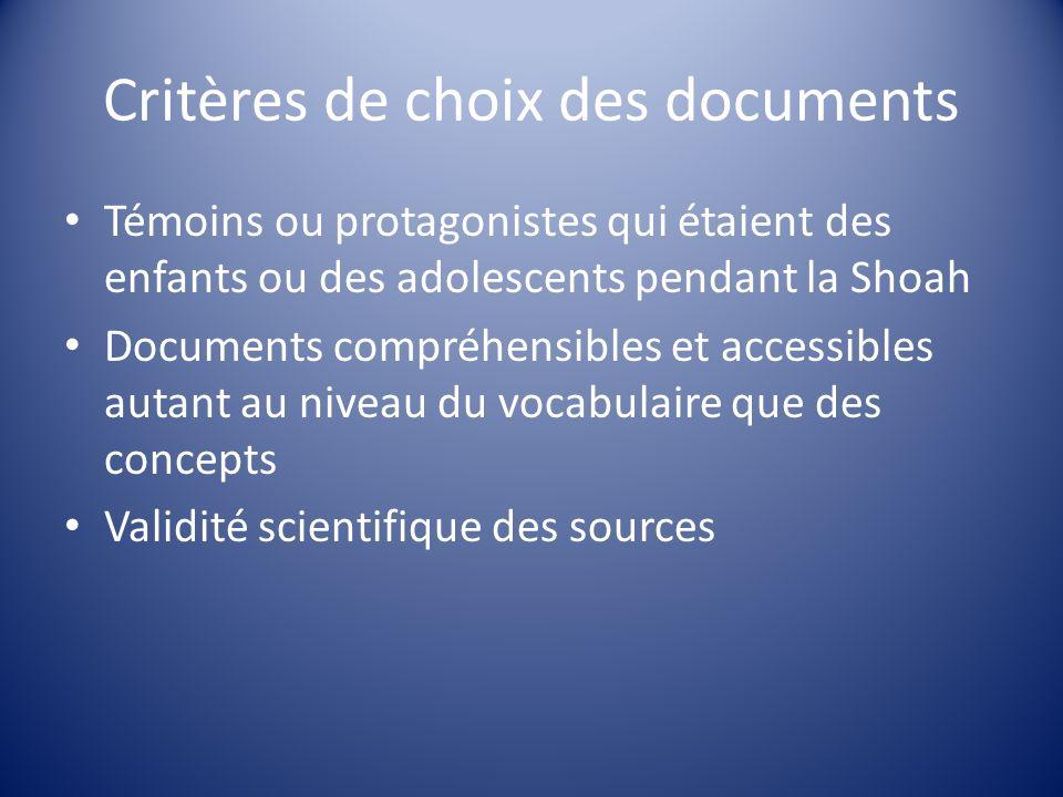Critères de choix des documents Témoins ou protagonistes qui étaient des enfants ou des adolescents pendant la Shoah Documents compréhensibles et acce