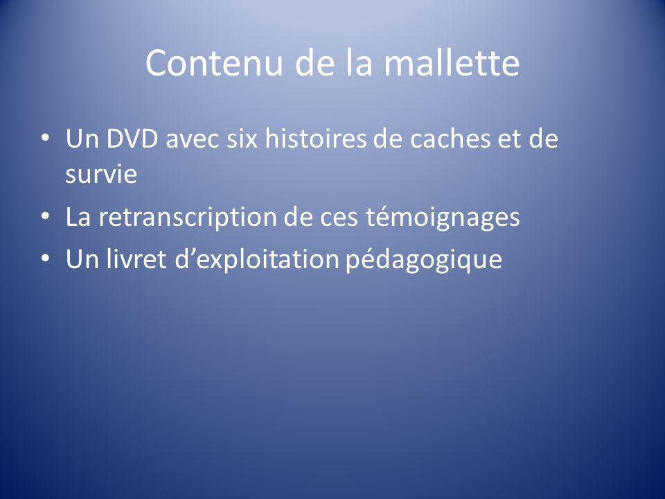 Contenu de la mallette Un DVD avec six histoires de caches et de survie La retranscription de ces témoignages Un livret dexploitation pédagogique