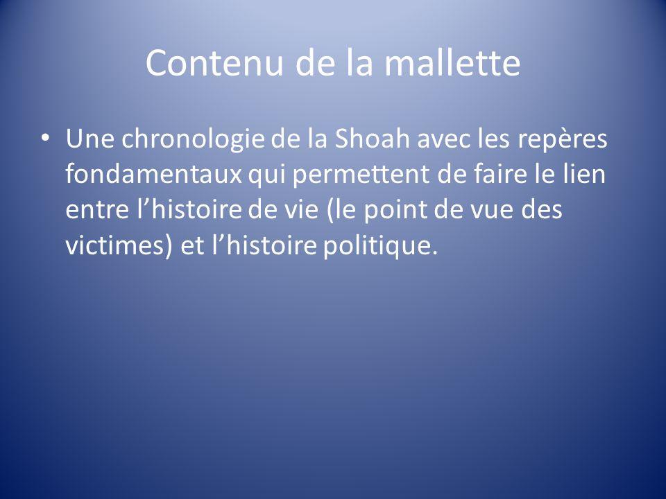 Contenu de la mallette Une chronologie de la Shoah avec les repères fondamentaux qui permettent de faire le lien entre lhistoire de vie (le point de v