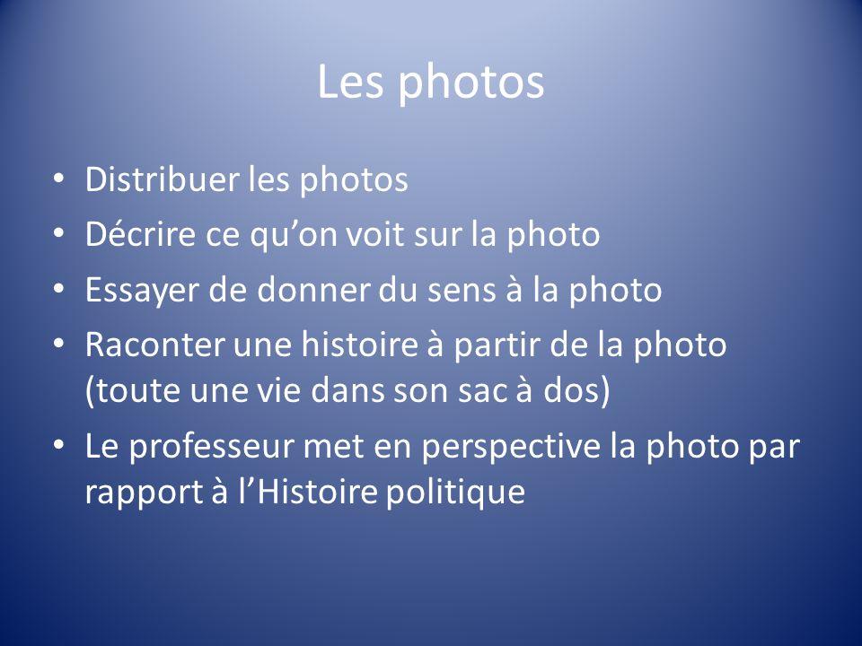 Les photos Distribuer les photos Décrire ce quon voit sur la photo Essayer de donner du sens à la photo Raconter une histoire à partir de la photo (to
