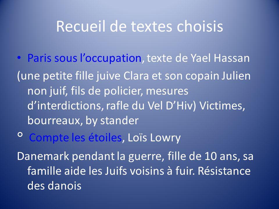 Recueil de textes choisis Paris sous loccupation, texte de Yael Hassan (une petite fille juive Clara et son copain Julien non juif, fils de policier,