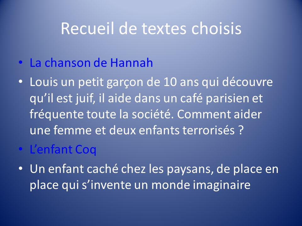 Recueil de textes choisis La chanson de Hannah Louis un petit garçon de 10 ans qui découvre quil est juif, il aide dans un café parisien et fréquente