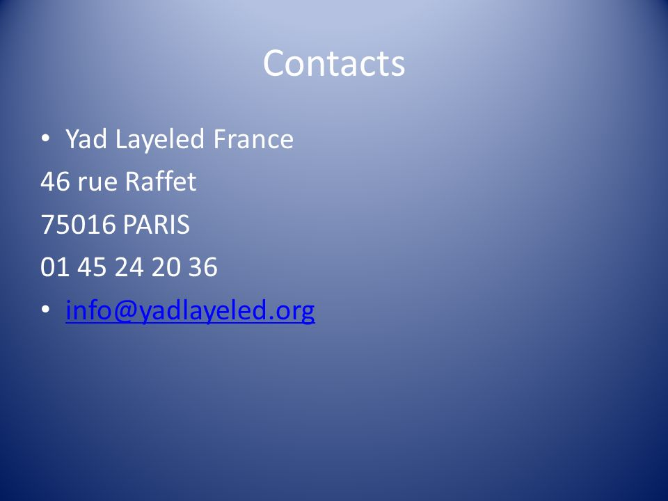 Contacts Yad Layeled France 46 rue Raffet 75016 PARIS 01 45 24 20 36 info@yadlayeled.org