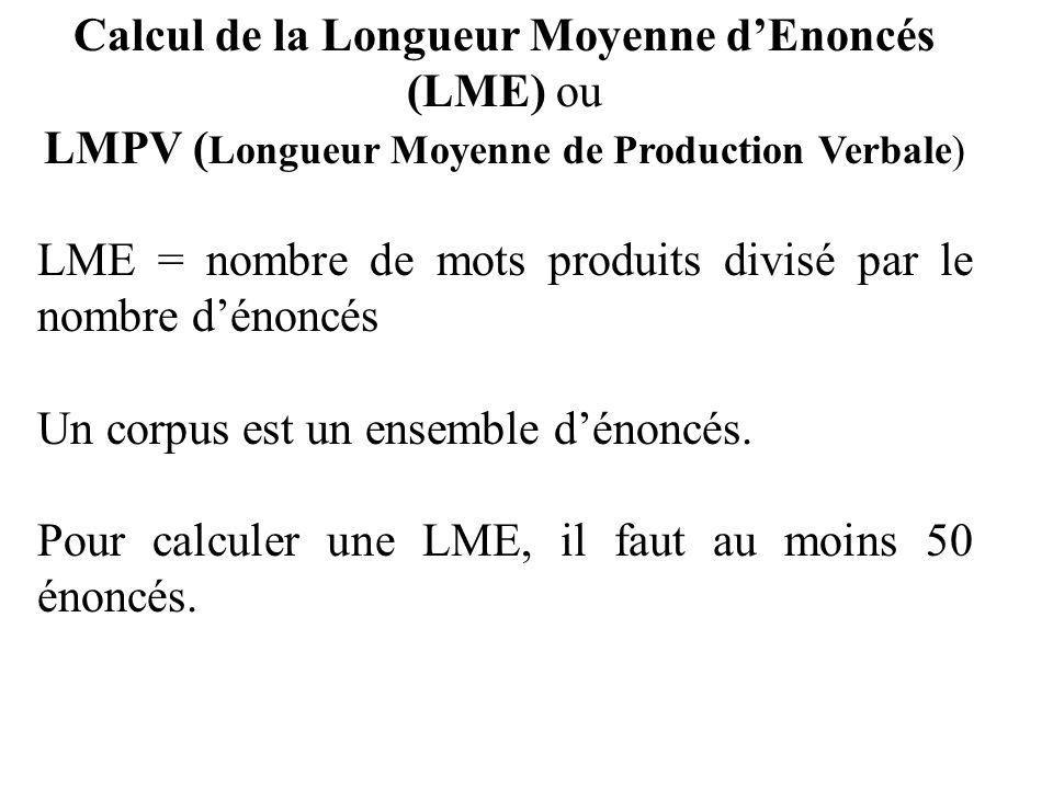 Calcul de la Longueur Moyenne dEnoncés (LME) ou LMPV ( Longueur Moyenne de Production Verbale) LME = nombre de mots produits divisé par le nombre déno