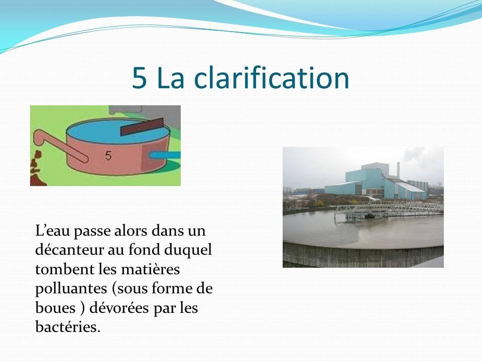 4 Le traitement biologique On fait passer ensuite leau (encore très sale) dans un bassin daération où les bactéries « mangent » petit à petit la pollution.
