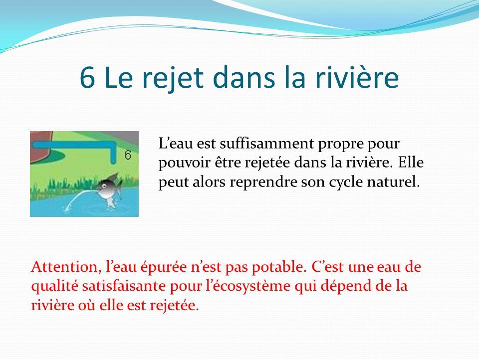 5 La clarification Leau passe alors dans un décanteur au fond duquel tombent les matières polluantes (sous forme de boues ) dévorées par les bactéries.