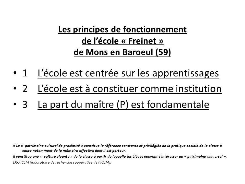 Les principes de fonctionnement de lécole « Freinet » de Mons en Baroeul (59) 1Lécole est centrée sur les apprentissages 2Lécole est à constituer comm