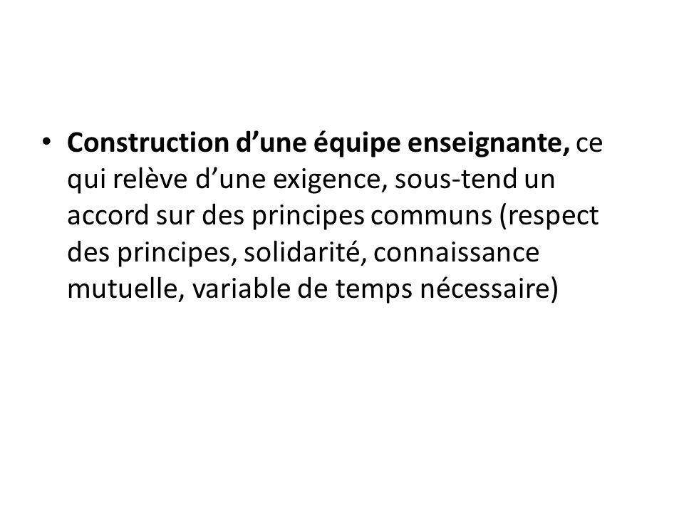 Construction dune équipe enseignante, ce qui relève dune exigence, sous-tend un accord sur des principes communs (respect des principes, solidarité, connaissance mutuelle, variable de temps nécessaire)
