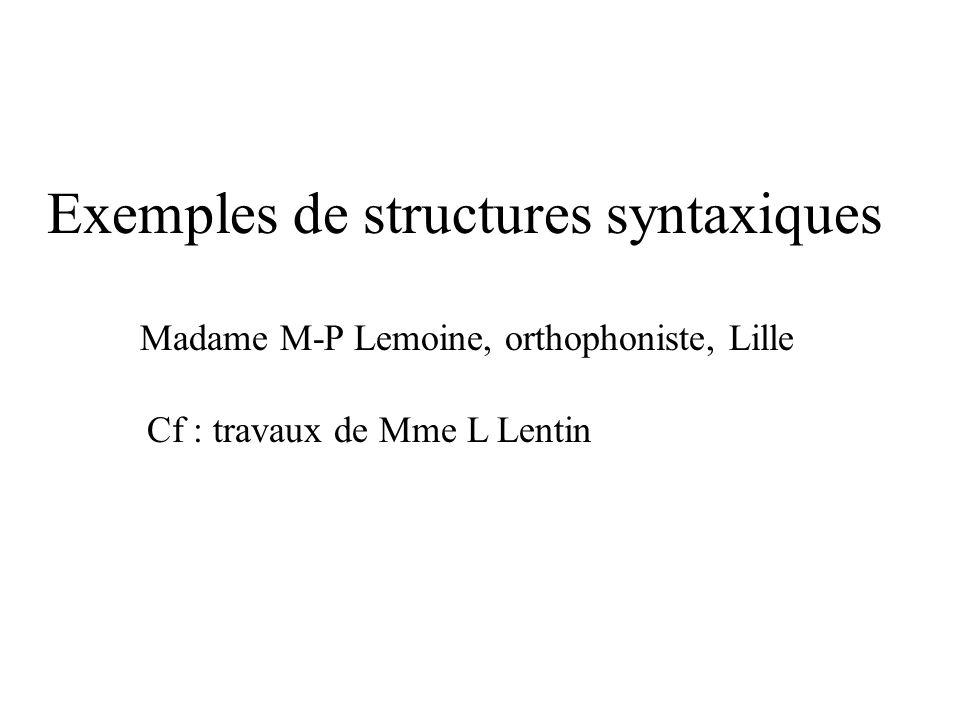 Exemples de structures syntaxiques Madame M-P Lemoine, orthophoniste, Lille Cf : travaux de Mme L Lentin