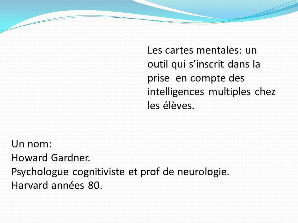 Les cartes mentales: un outil qui sinscrit dans la prise en compte des intelligences multiples chez les élèves. Un nom: Howard Gardner. Psychologue co