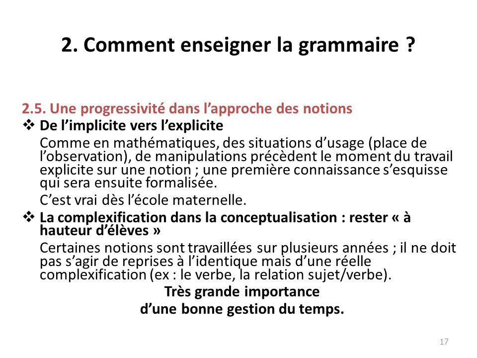 2. Comment enseigner la grammaire ? 2.5. Une progressivité dans lapproche des notions De limplicite vers lexplicite Comme en mathématiques, des situat