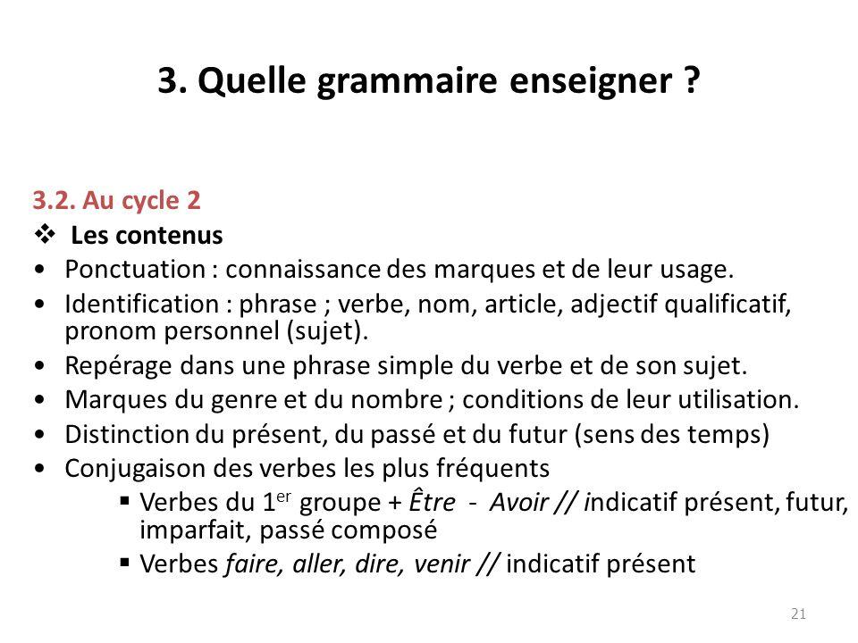 3. Quelle grammaire enseigner ? 3.2. Au cycle 2 Les contenus Ponctuation : connaissance des marques et de leur usage. Identification : phrase ; verbe,