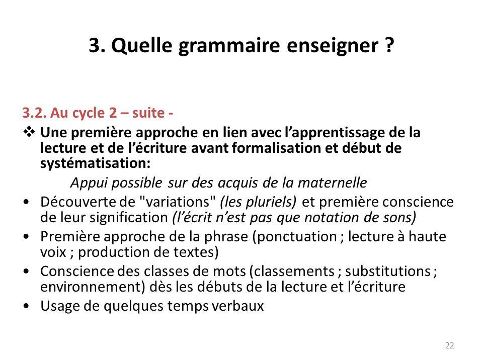3. Quelle grammaire enseigner ? 3.2. Au cycle 2 – suite - Une première approche en lien avec lapprentissage de la lecture et de lécriture avant formal