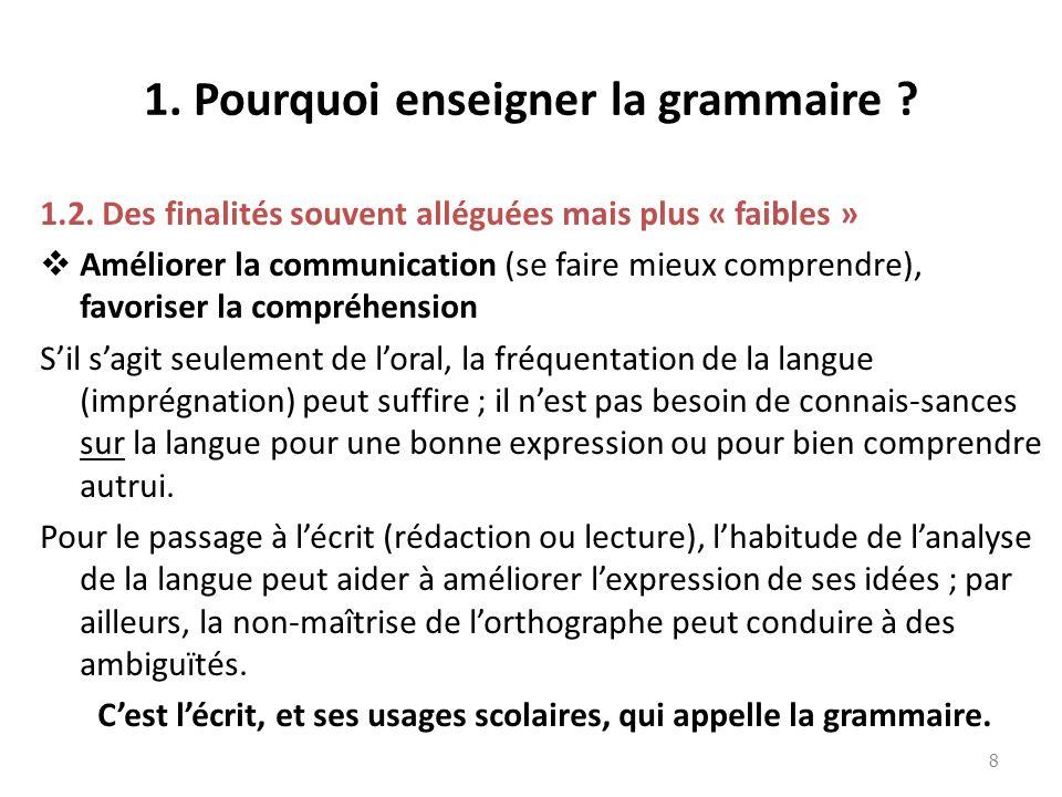 1. Pourquoi enseigner la grammaire ? 1.2. Des finalités souvent alléguées mais plus « faibles » Améliorer la communication (se faire mieux comprendre)