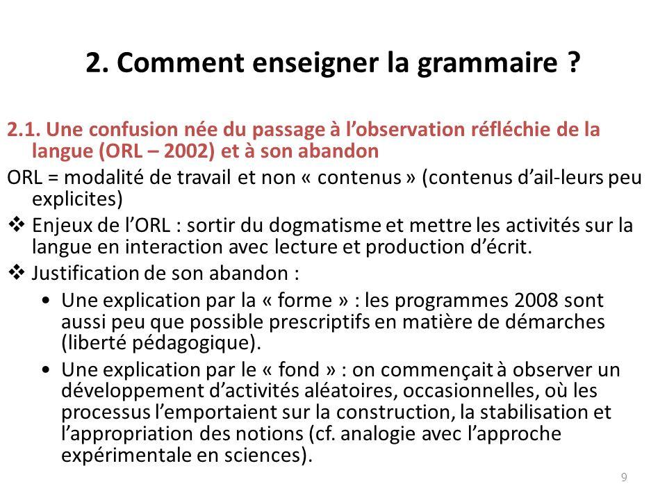 2.Comment enseigner la grammaire . 2.2.