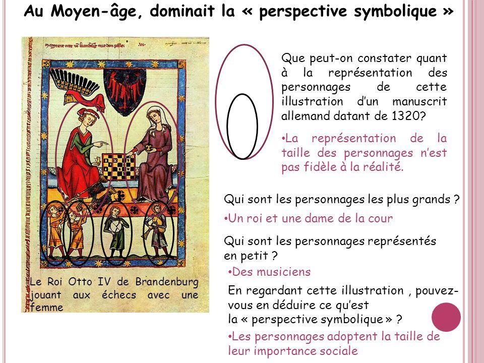 Au Moyen-âge, dominait la « perspective symbolique » En regardant cette illustration, pouvez- vous en déduire ce quest la « perspective symbolique » ?